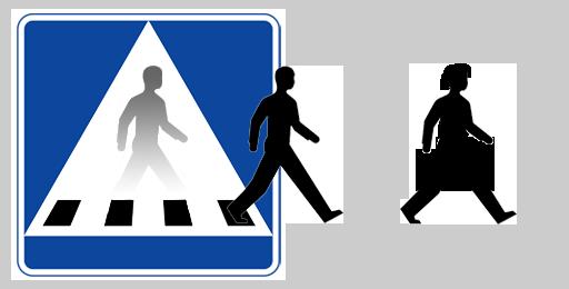 En herr och en fru gårman kliver ut och går framåt. Design © Anders Byström http://suzanders.se