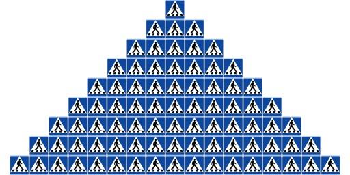 81 övergångsställen i pyramid.